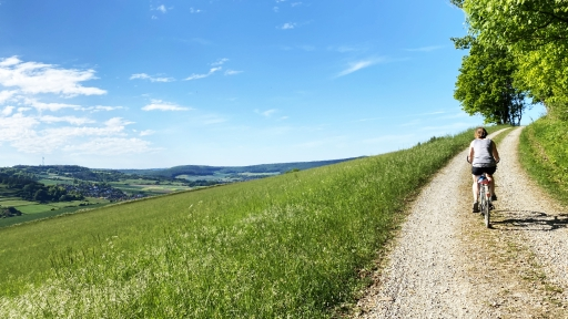 Eine Fahrradfahrerin radelt einen Berg hoch