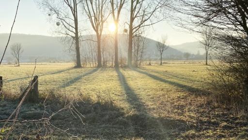 Berge im Hintergrund. Im Vordergrund Wiesen mit leichtem Raureif. Sonnenlicht strahlt zwischen Bäumen hervor.