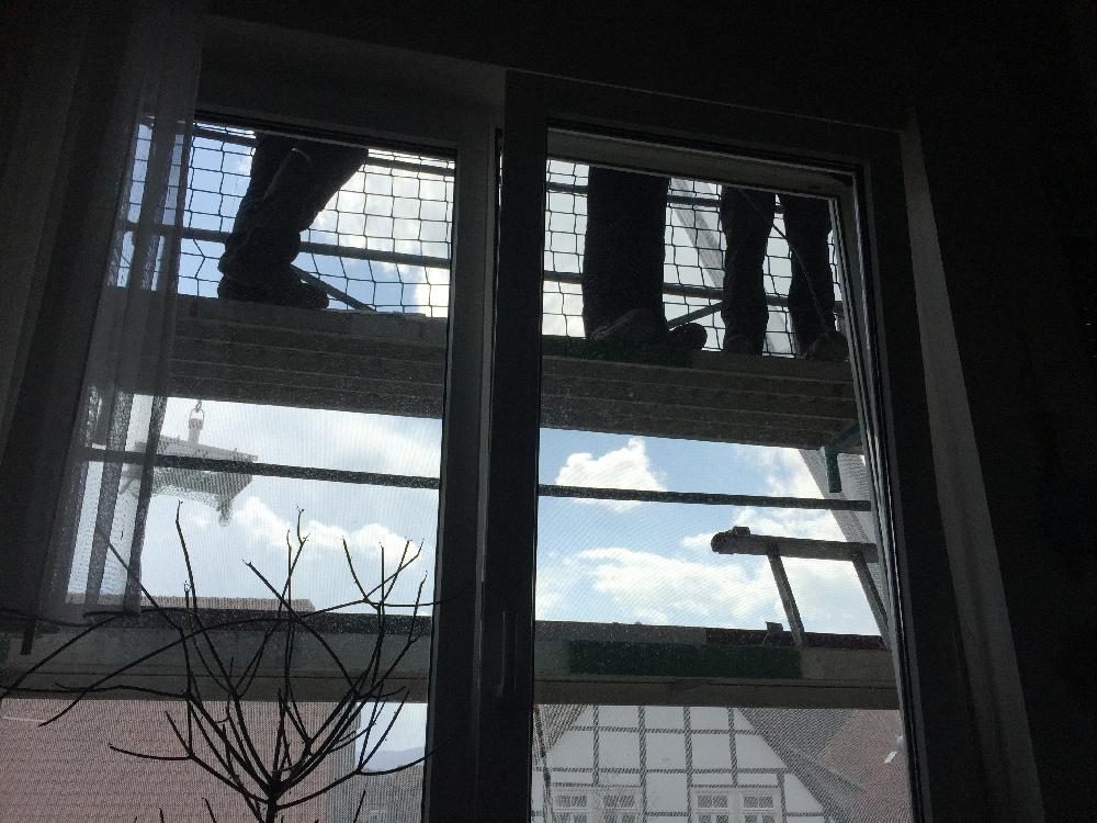 Beine vor einem Fenster