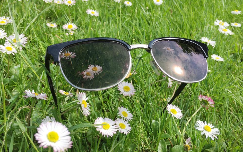 Eine Brille liegt auf dem Rasen