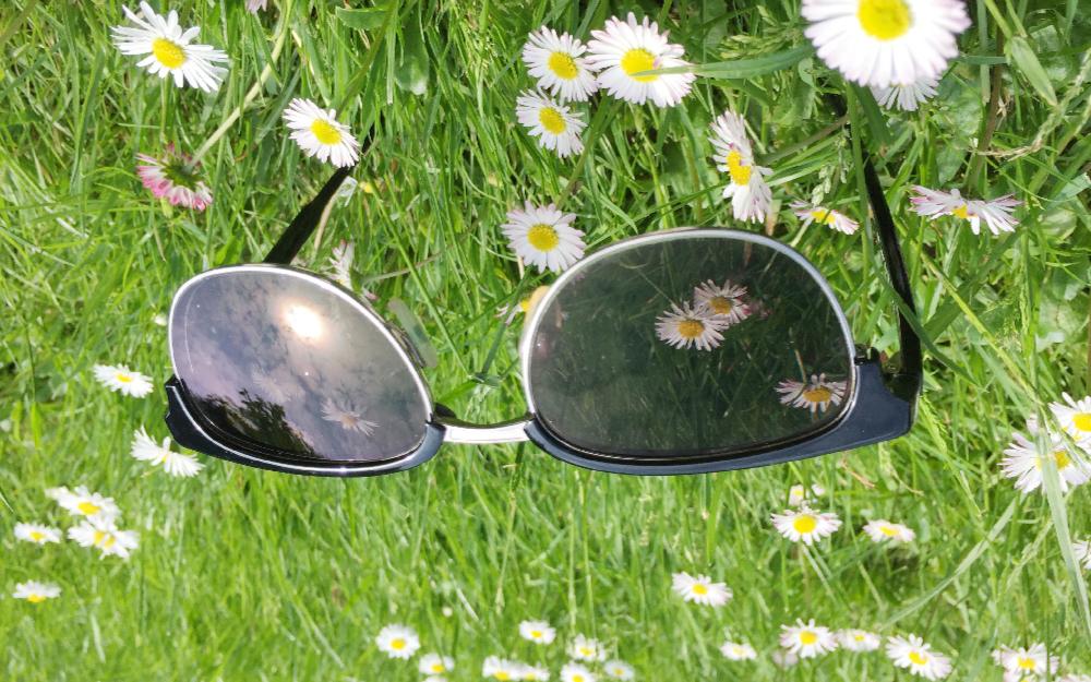 Eine Brille liegt auf dem Rasen. Das Foto ist auf den Kopf gedreht.
