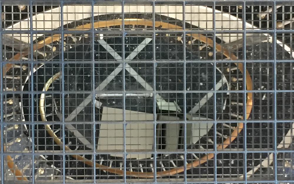 Ein Treppenhaus durch ein Gitter fotografiert.