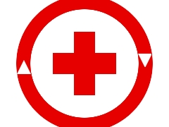Ein roter Kreis mit Pfeilen; in der Mitte ein rotes Kreuz