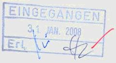 Eingangsstempel, mit Datum und Kürzeln von Unterschriften