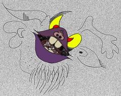 Eine Zeichnung - eine diabolisch aussehendes Gesicht
