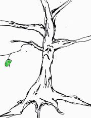 Skizzierter Baum mit nur einem Blatt