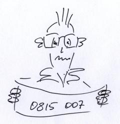 Eine Zeichnung, ein Mann hält einen Zettel mit der Nummer 0815 007
