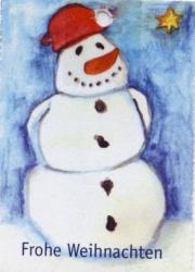Bild von einem Schneemann, darunter der Text: Frohe Weihnachten