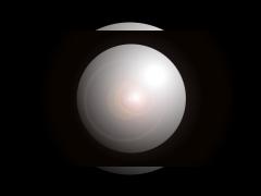 Schwarzer Hintergrund, in der Mitte eine Kugel, die an eine Linse erinnert