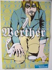 Ein Plakat, darauf eine Zeichnungen von einem Mann mit Gitarre