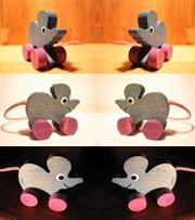 Eine Maus aus Holz in sechs verschiedenen Perspektiven