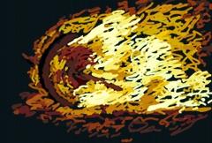 Grafik von einem brennendem Osterrad