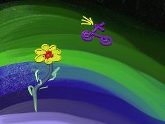 Eine Grafik - bunter Hintergrund, im Vordergrund eine Blume und ein Roller
