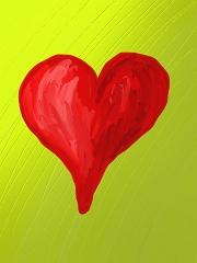 Eine Grafik - gelber Hintergrund, darauf ein rotes Herz