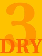 Grafik mit der Zahl 3 und den Buchstaben DRY