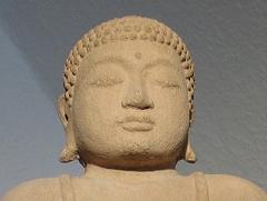 Der Kopf einer Buddha-Statue