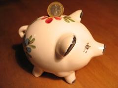 Ein Foto von einem Sparschwein, im Einwurfschlitz klemmt eine Ein-Euro-Münze