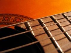 Das Griffbrett einer Gitarre