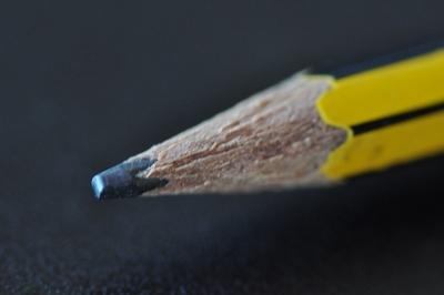 Eine Bleistiftspitze.