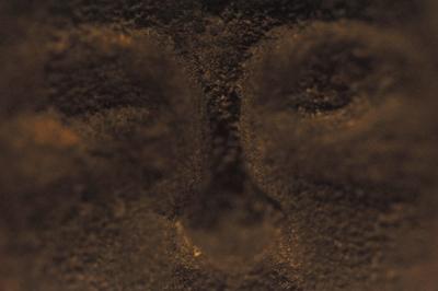 Steinskulptur Ausschnitt eines Gesichtes