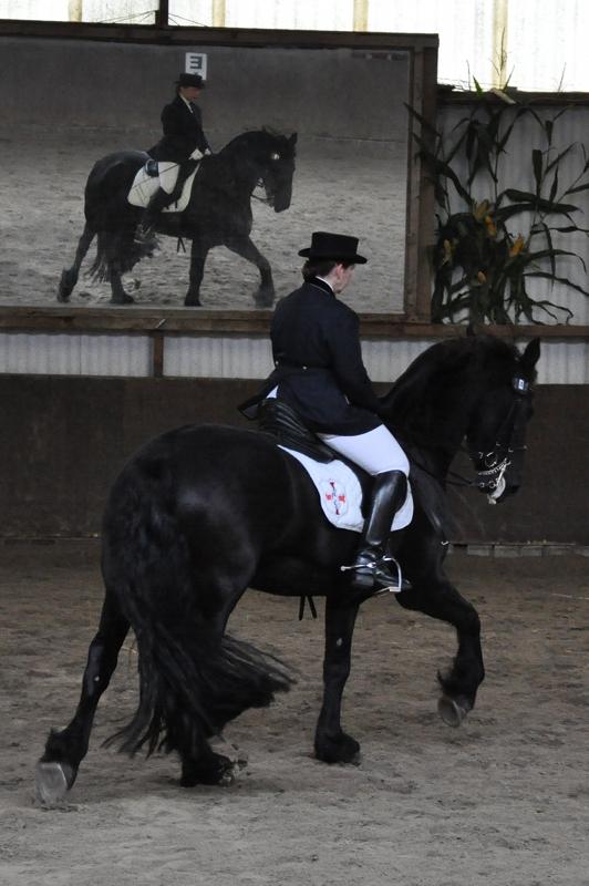 Pferd und Reiterin vor einem großen Spiegel.