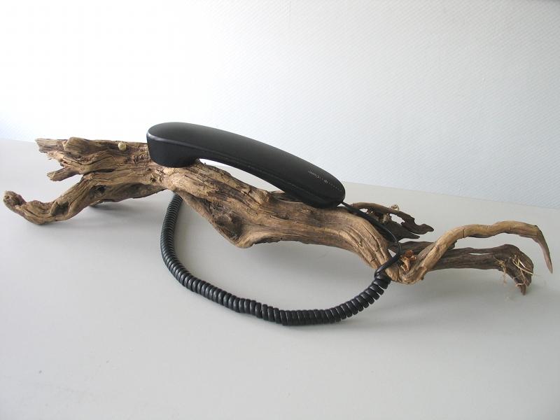 Ein Stück Baumwurzel, darauf liegt ein Telefonhörer.