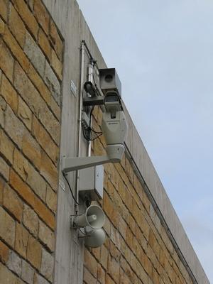 Eine Überwachungskamera an der Umgehungsstraße Lügde.