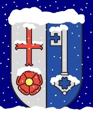 Das Wappen von Lügde. Darauf liegend, stilisiert dargestellt, Schnee.