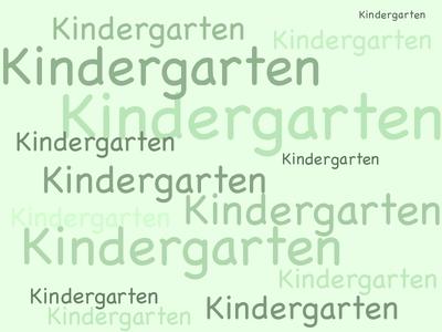 Eine Grafik. Darauf ist mehrmals das Wort Kindergarten zu lesen.