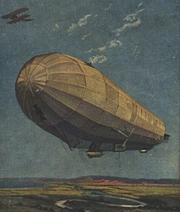 Ausschnitt von einer Postkarte aus dem Jahr 1915: Militärluftkreuzer Hansa, nach einem Gemälde von Prof. Hans Rudolf Schulze, Berlin