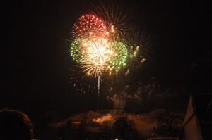 Feuerwerk über dem Osterberg in Lügde