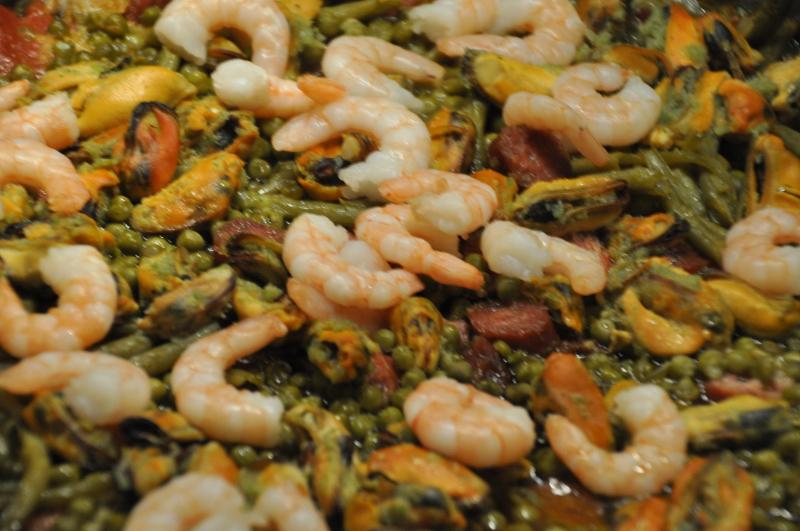 Meeresfrüche auf einer Paella