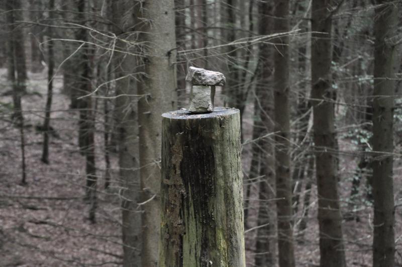 Zwei Steine auf einem Baumstumpf gestapelt