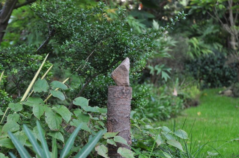 Ein Stein auf einem Baumstumpf
