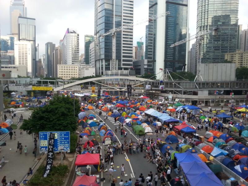 Hongkong, Zelte auf den Straßen