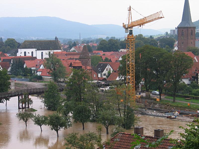 Eine Baustelle mit Hochwasser
