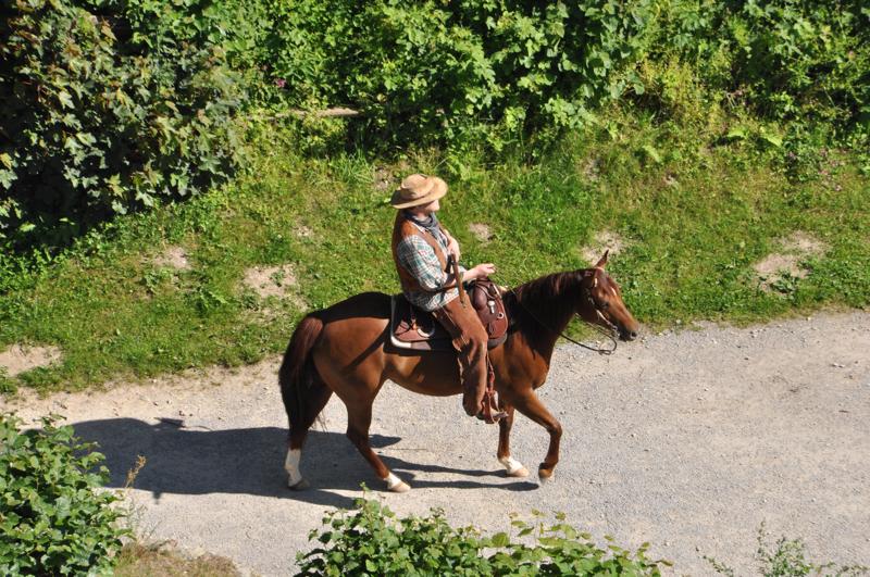 Ein Reiter mit Hut auf einem Pferd